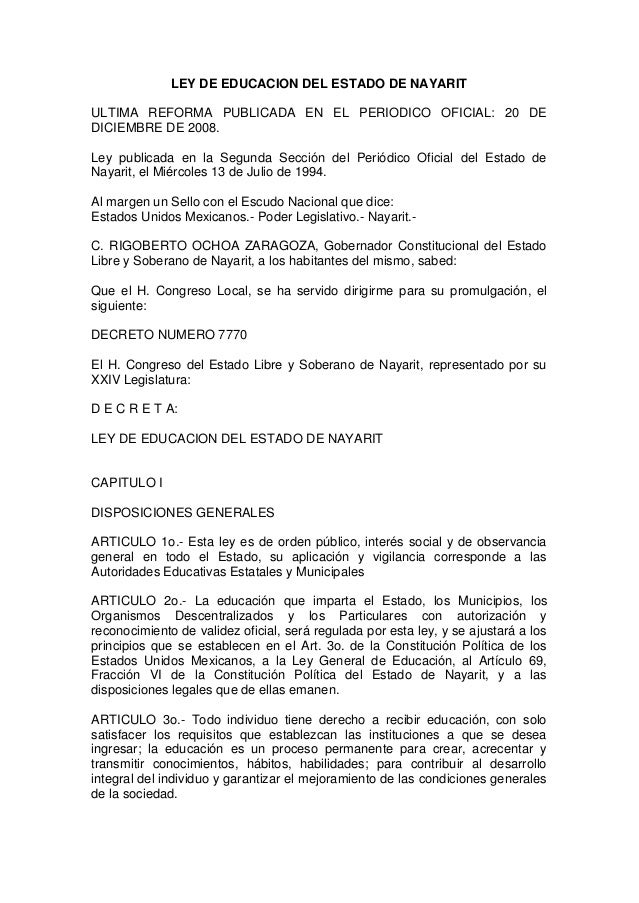 Ley Educacion Estado Nayarit