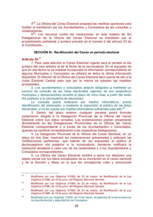 Ley electoral de 1985 y actualizaciones posteriores for Oficina del censo electoral