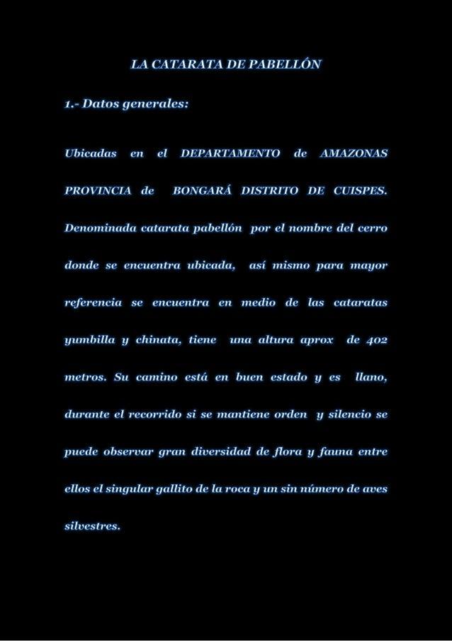 Leyenda de la catarata pabellon distrito de cuispes provincia de bongara departamento amazonas