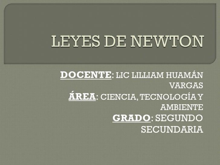 DOCENTE :  LIC LILLIAM HUAMÁN VARGAS ÁREA :  CIENCIA, TECNOLOGÍA Y AMBIENTE GRADO : SEGUNDO SECUNDARIA