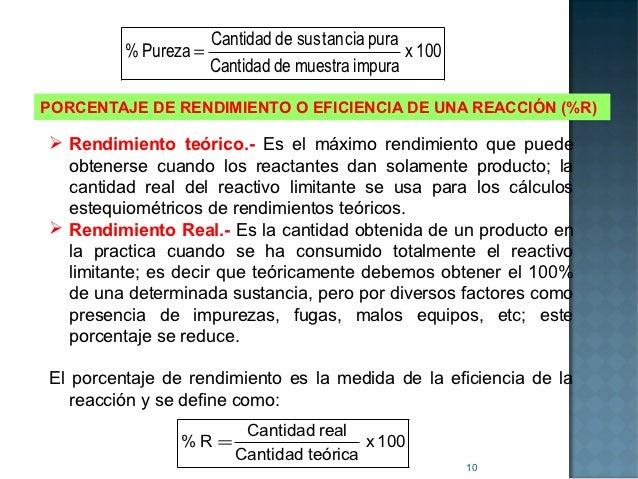 Cantidad de sus tancia pura         % Pureza =                             x 100                    Cantidad de muestra im...