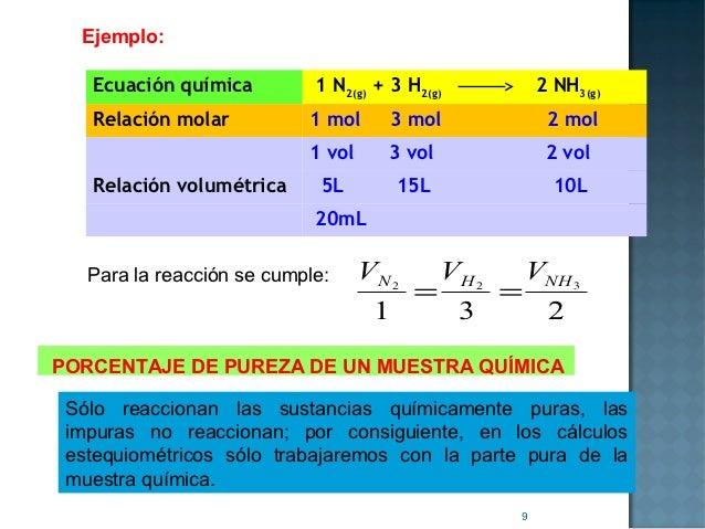 Ejemplo:   Ecuación química         1 N2(g) + 3 H2(g)            2 NH3(g)   Relación molar          1 mol      3 mol      ...