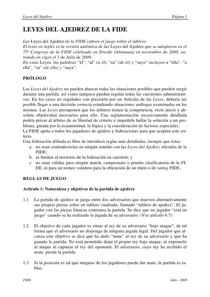 Leyes del Ajedrez                                                                  Página 1   LEYES DEL AJEDREZ DE LA FIDE...