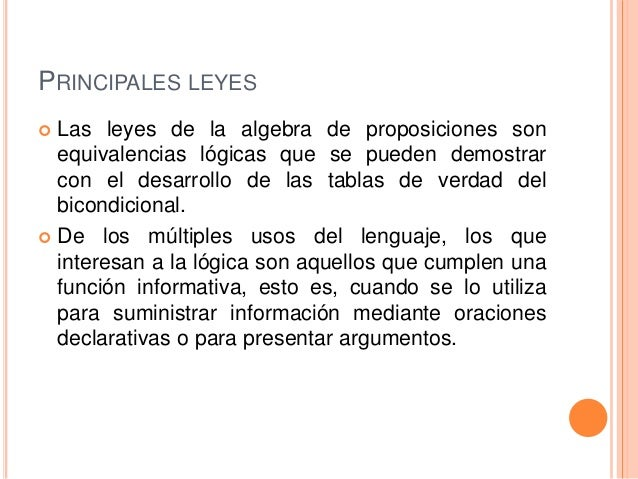 Leyes de algebra proposicional Slide 3