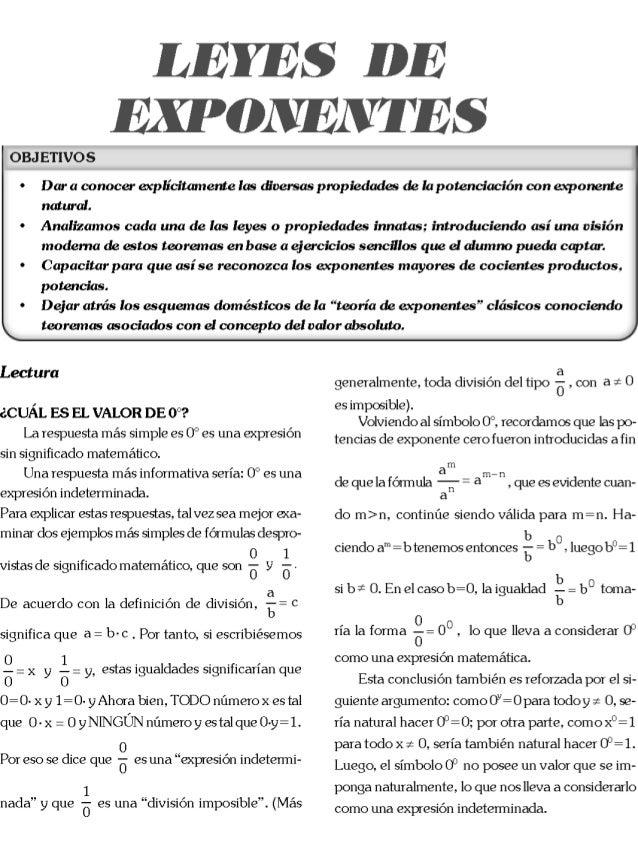 Leyes de exponentes radicacion