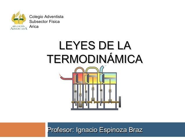 LEYES DE LALEYES DE LATERMODINÁMICATERMODINÁMICAProfesor: Ignacio Espinoza BrazProfesor: Ignacio Espinoza BrazColegio Adve...