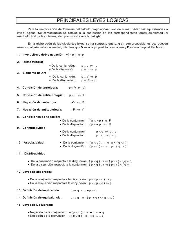 PRINCIPALES LEYES LÓGICAS Para la simplificación de fórmulas del cálculo proposicional, son de suma utilidad las equivalen...