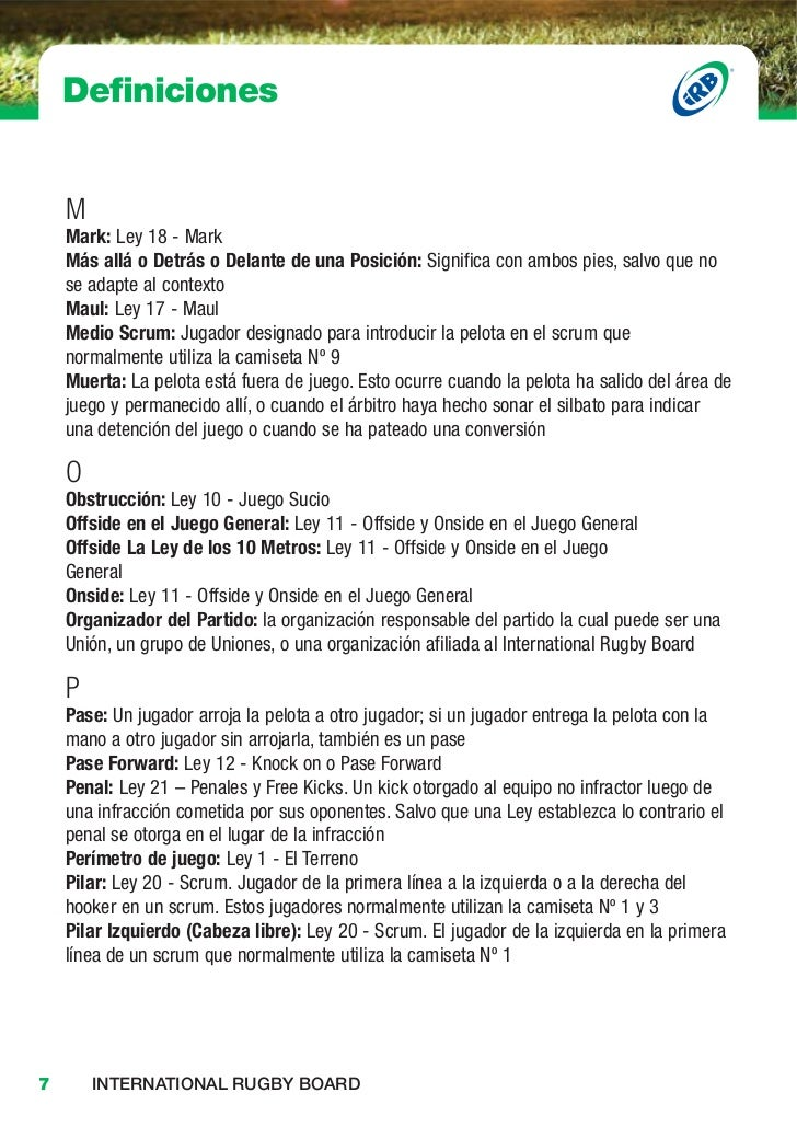 Leyes del rugby for Ley del offside