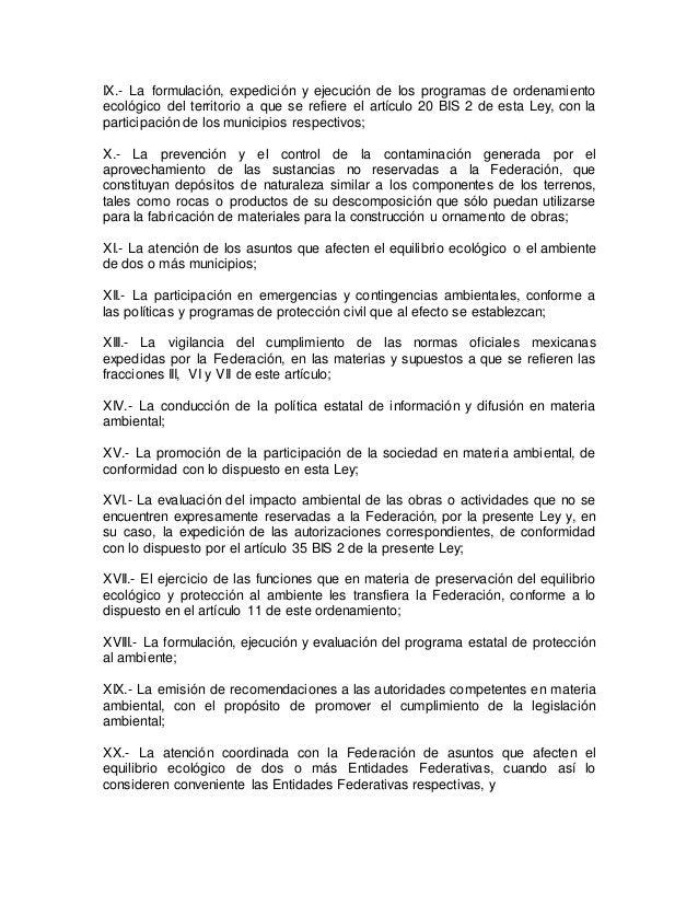 IX.- La formulación, expedición y ejecución de los programas de ordenamiento  ecológico del territorio a que se refiere el...