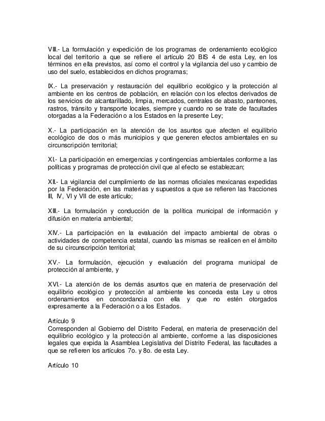 VIII.- La formulación y expedición de los programas de ordenamiento ecológico  local del territorio a que se refiere el ar...