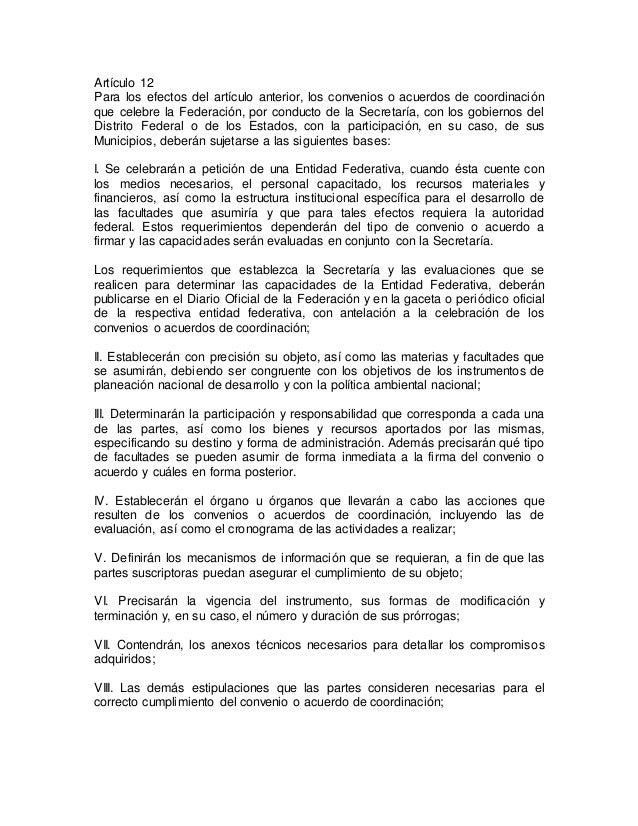 Artículo 12  Para los efectos del artículo anterior, los convenios o acuerdos de coordinación  que celebre la Federación, ...