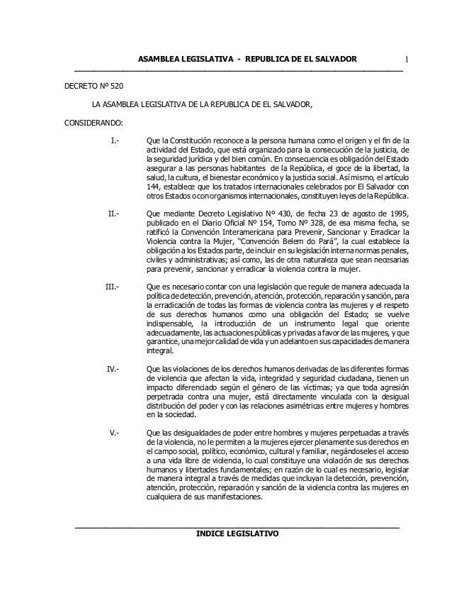 ASAMBLEA LEGISLATIVA - REPUBLICA DE EL SALVADOR         1  _______________________________________________________________...