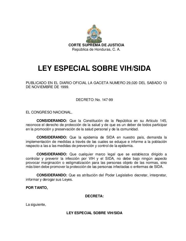 CORTE SUPREMA DE JUSTICIA                           República de Honduras, C. A.       LEY ESPECIAL SOBRE VIH/SIDAPUBLICAD...
