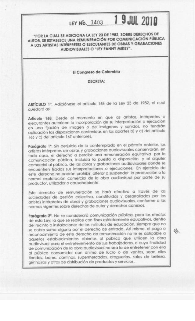 """LEY N0. 1403 1 9JUL 2018 """"POR LA CUAL SE ADICIONA LA LEY23 DE 1982, SOBRE DERECHOS DE AUTOR, SE ESTABLECE UNA REMUNERACiÓN..."""