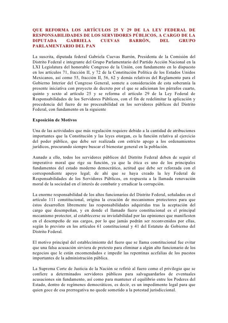 QUE REFORMA LOS ARTÍCULOS 25 Y 29 DE LA LEY FEDERAL DE RESPONSABILIDADES DE LOS SERVIDORES PÚBLICOS, A CARGO DE LA DIPUTAD...