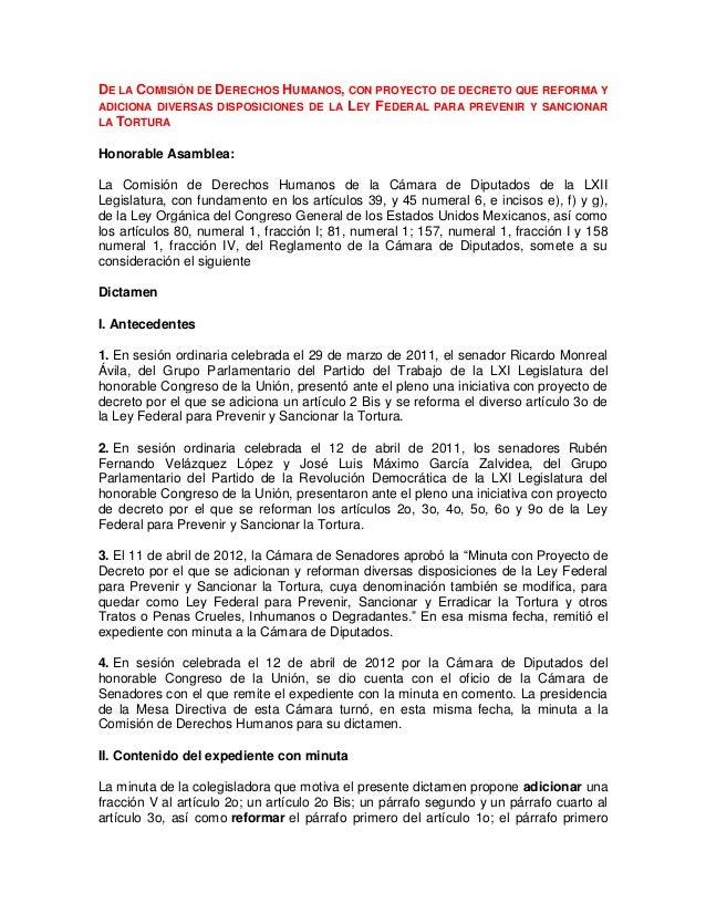 DE LA COMISIÓN DE DERECHOS HUMANOS, CON PROYECTO DE DECRETO QUE REFORMA YADICIONA DIVERSAS DISPOSICIONES DE LA LEY FEDERAL...