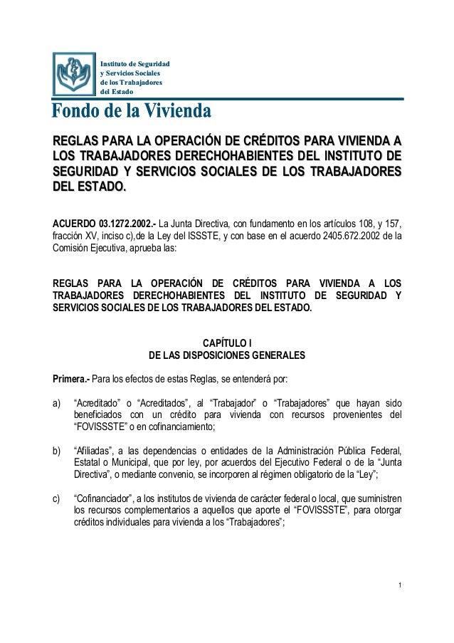 Instituto de Seguridad            y Servicios Sociales            de los Trabajadores            del EstadoREGLAS PARA LA ...