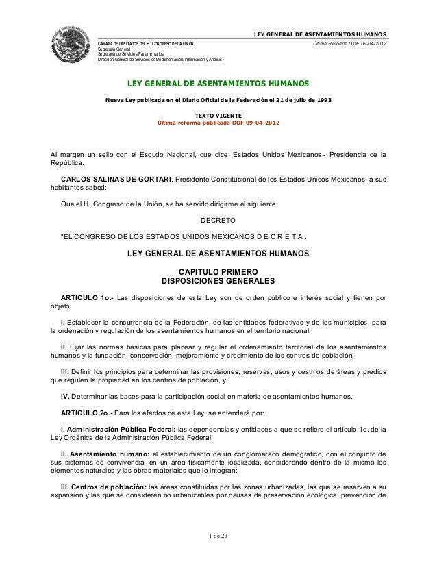 LEY GENERAL DE ASENTAMIENTOS HUMANOS               CÁMARA DE DIPUTADOS DEL H. CONGRESO DE LA UNIÓN                        ...