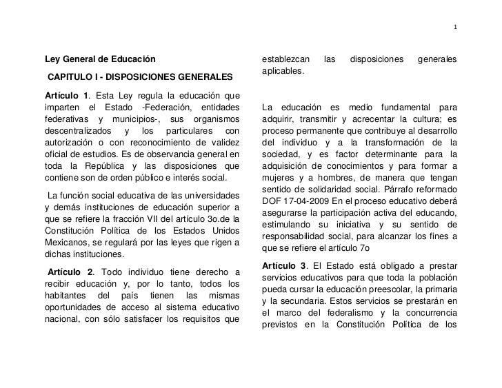1Ley General de Educación                               establezcan    las    disposiciones    generales                  ...