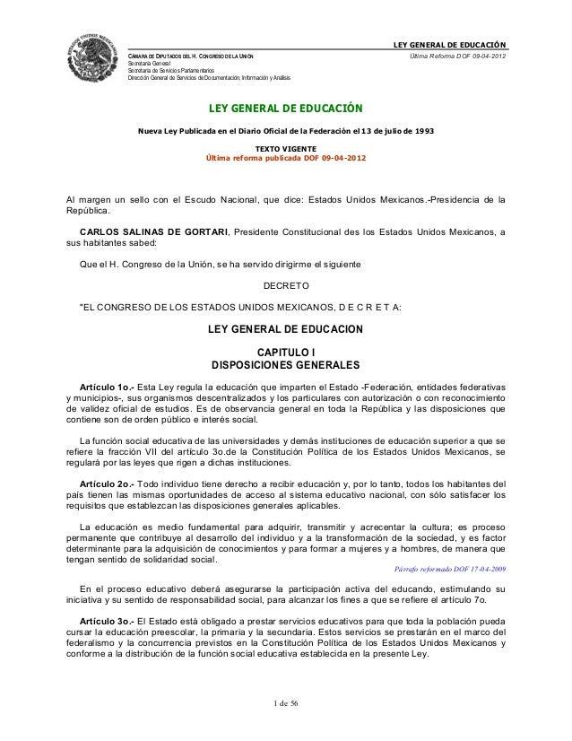 LEY GENERAL DE EDUCACIÓNCÁMARA DE DIPUTADOS DEL H. CONGRESO DE LA UNIÓNSecretaría GeneralSecretaría de Servicios Parlament...