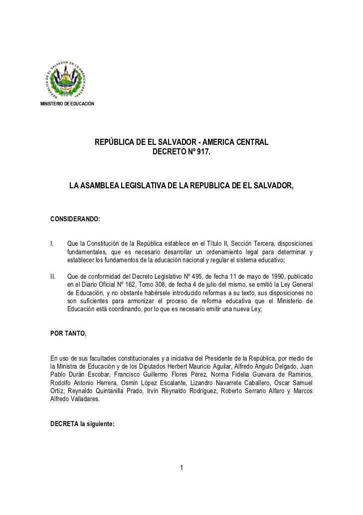 MINISTERIO DE EDUCACIÓN                          REPÚBLICA DE EL SALVADOR - AMERICA CENTRAL                               ...