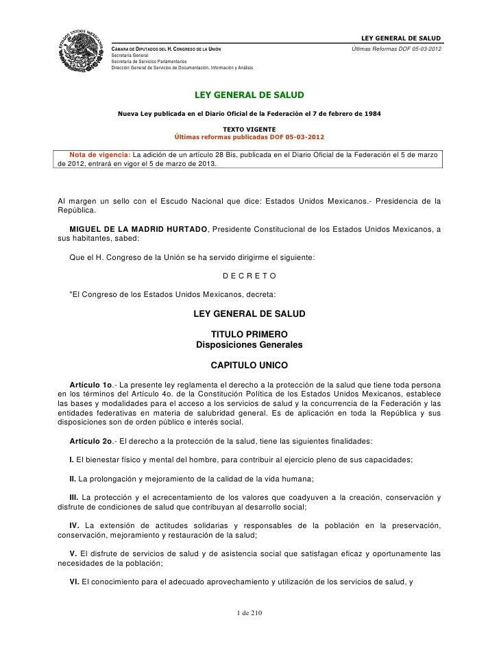 LEY GENERAL DE SALUD                CÁMARA DE DIPUTADOS DEL H. CONGRESO DE LA UNIÓN                             Últimas Re...