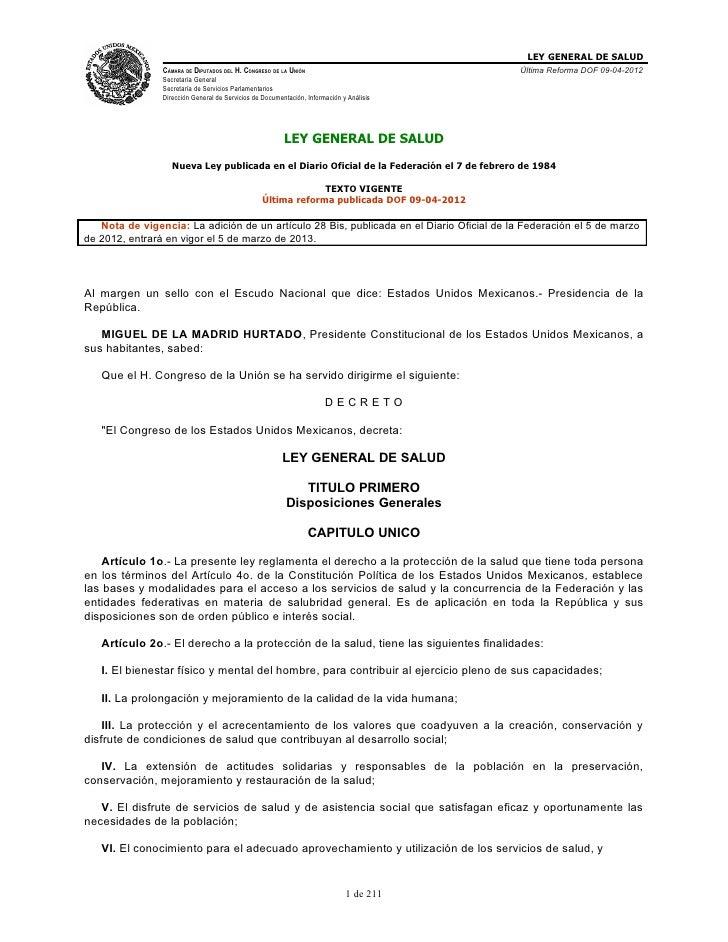 LEY GENERAL DE SALUD                CÁMARA DE DIPUTADOS DEL H. CONGRESO DE LA UNIÓN                             Última Ref...