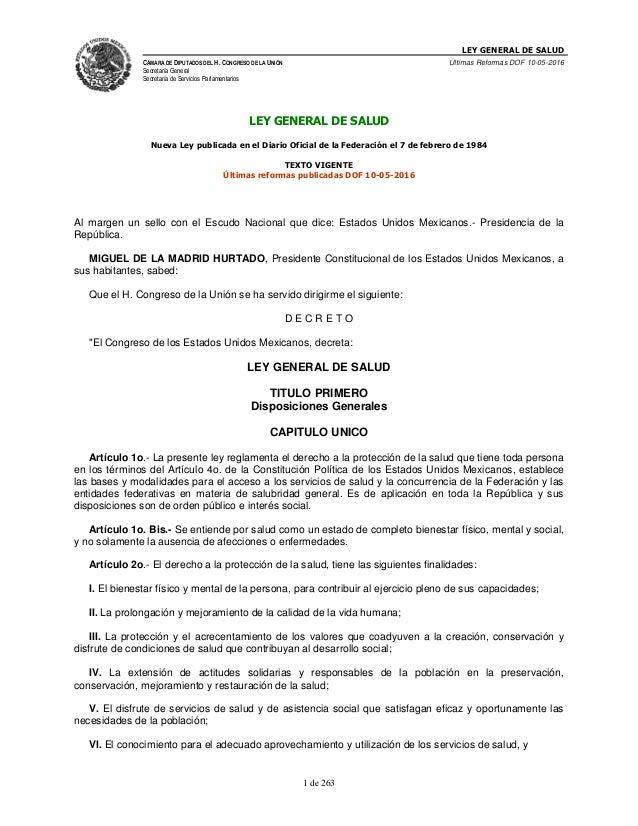 LEY GENERAL DE SALUD CÁMARA DE DIPUTADOS DEL H. CONGRESO DE LA UNIÓN Secretaría General Secretaría de Servicios Parlamenta...