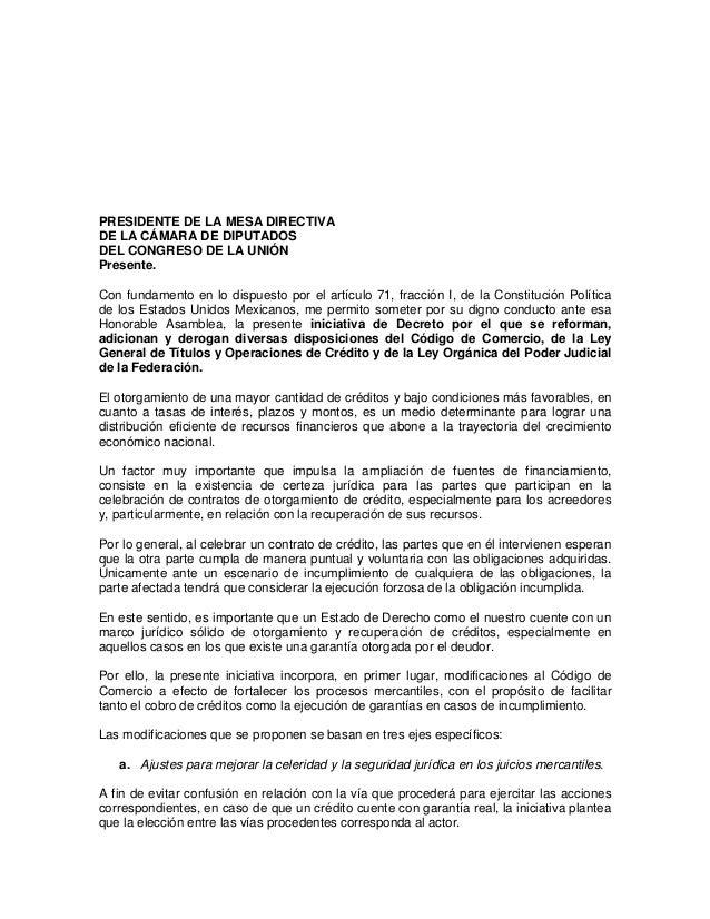 PRESIDENTE DE LA MESA DIRECTIVADE LA CÁMARA DE DIPUTADOSDEL CONGRESO DE LA UNIÓNPresente.Con fundamento en lo dispuesto po...
