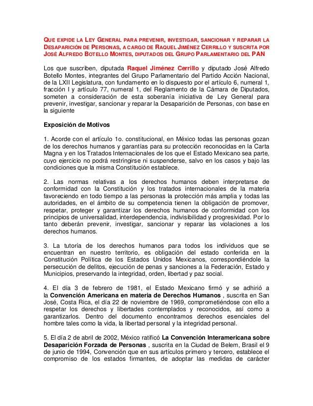 QUE EXPIDE LA LEY GENERAL PARA PREVENIR, INVESTIGAR, SANCIONAR Y REPARAR LA DESAPARICIÓN DE PERSONAS, A CARGO DE RAQUEL JI...