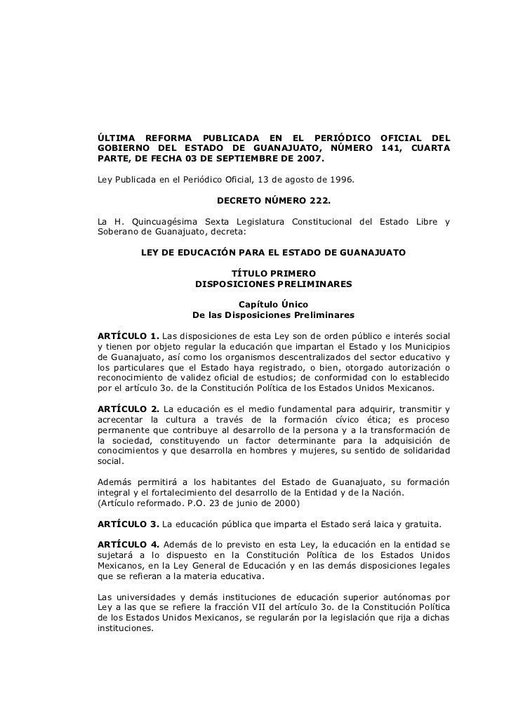 ÚLTIMA REFORMA PUBLICADA EN EL PERIÓDICO OFICIAL DELGOBIERNO DEL ESTADO DE GUANAJUATO, NÚMERO 141, CUARTAPARTE, DE FECHA 0...