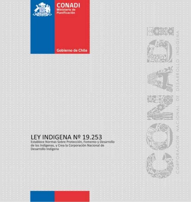 LEY INDIGENA Nº 19.253         Establece Normas Sobre Protección, Fomento y Desarrollo de los         Indígenas, y Crea la...