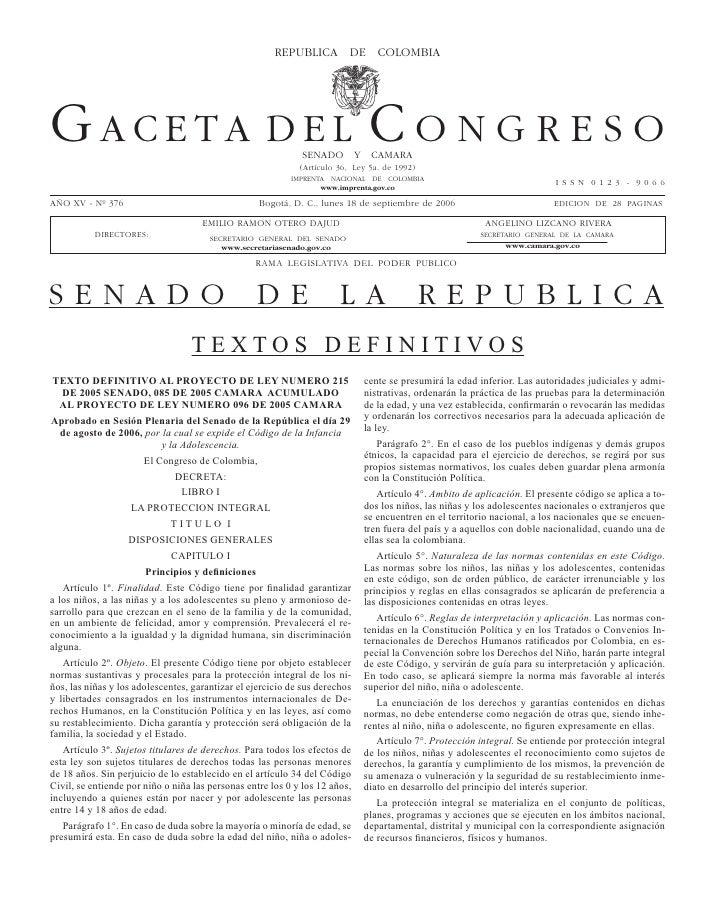 GACETA DEL CONGRESO 376                                REPuBLICA septiembre de 2006                                       ...