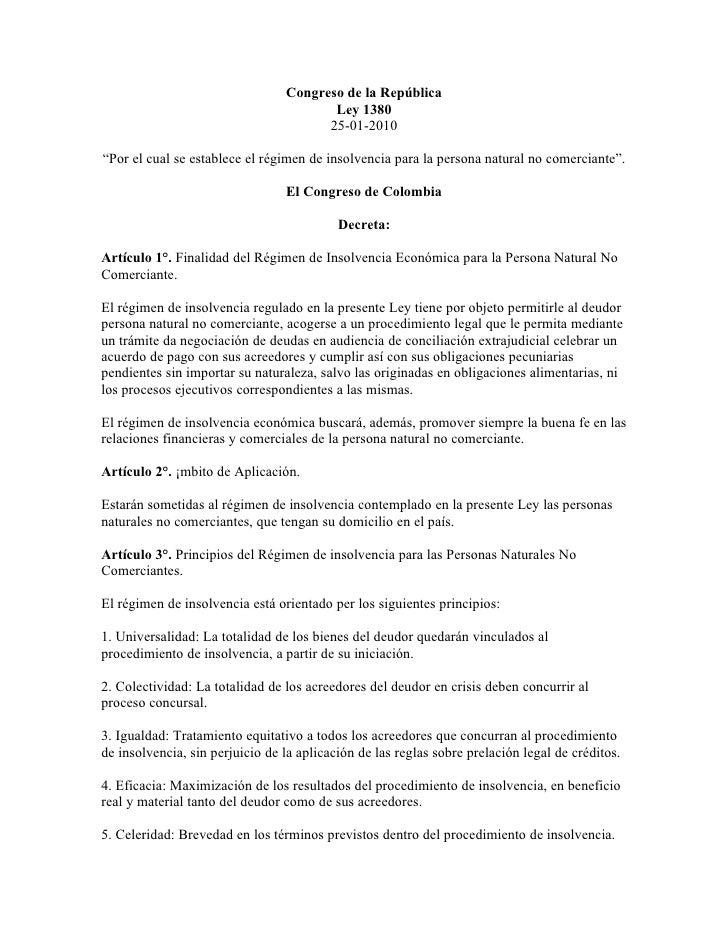 Congreso de la República                                         Ley 1380                                        25-01-201...