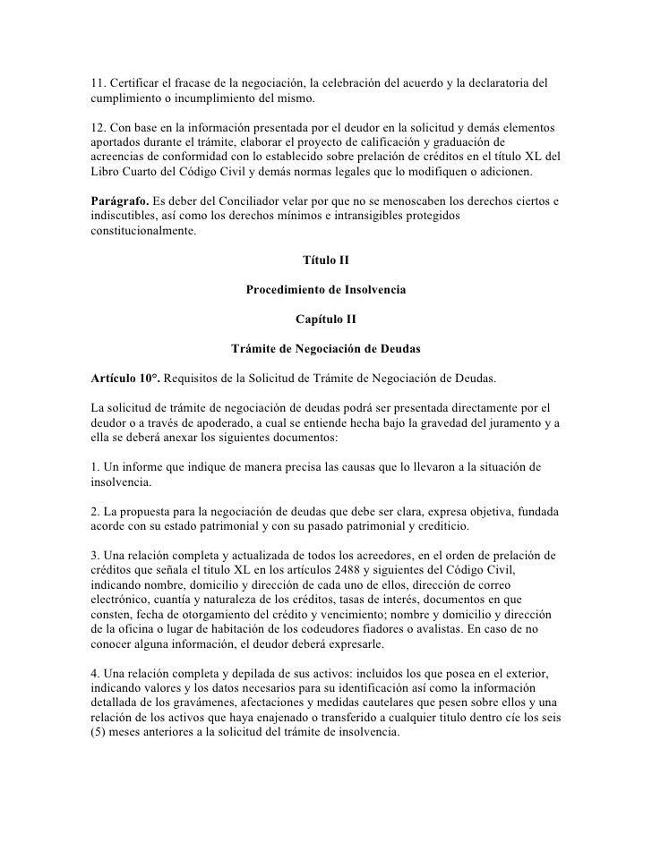 Ley insolvencia persona natural for Libro cuarto del codigo civil