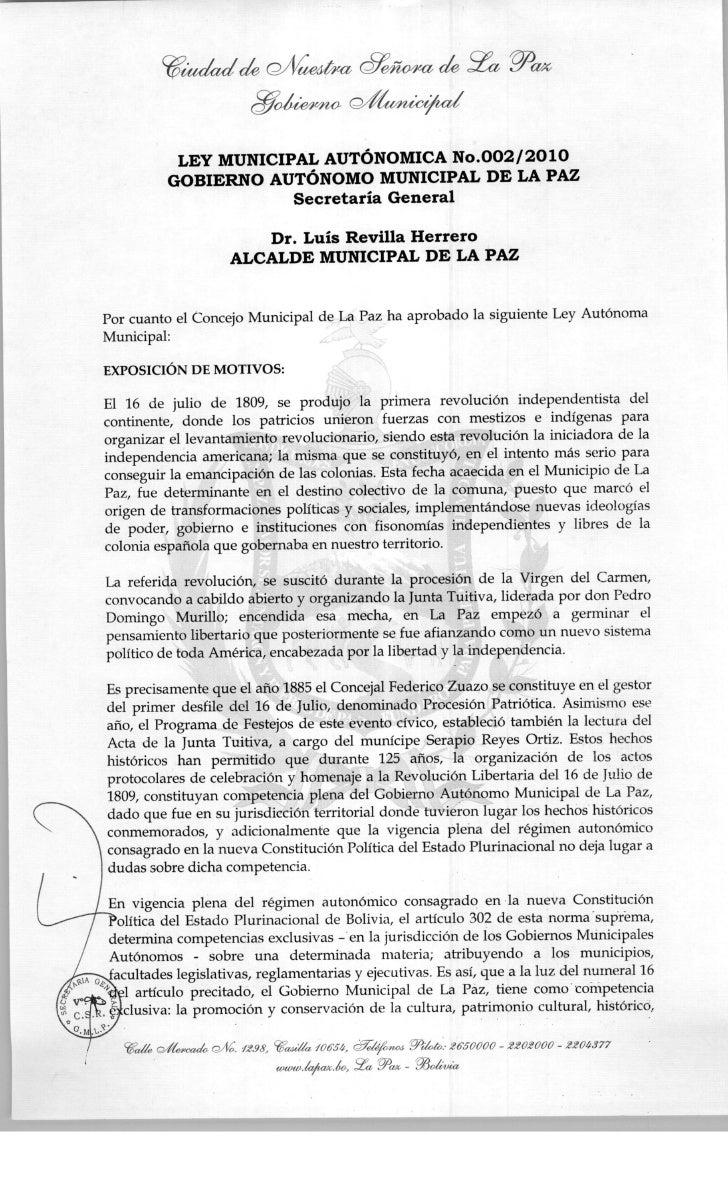 Ley municipal 002 2010 GAM La Paz