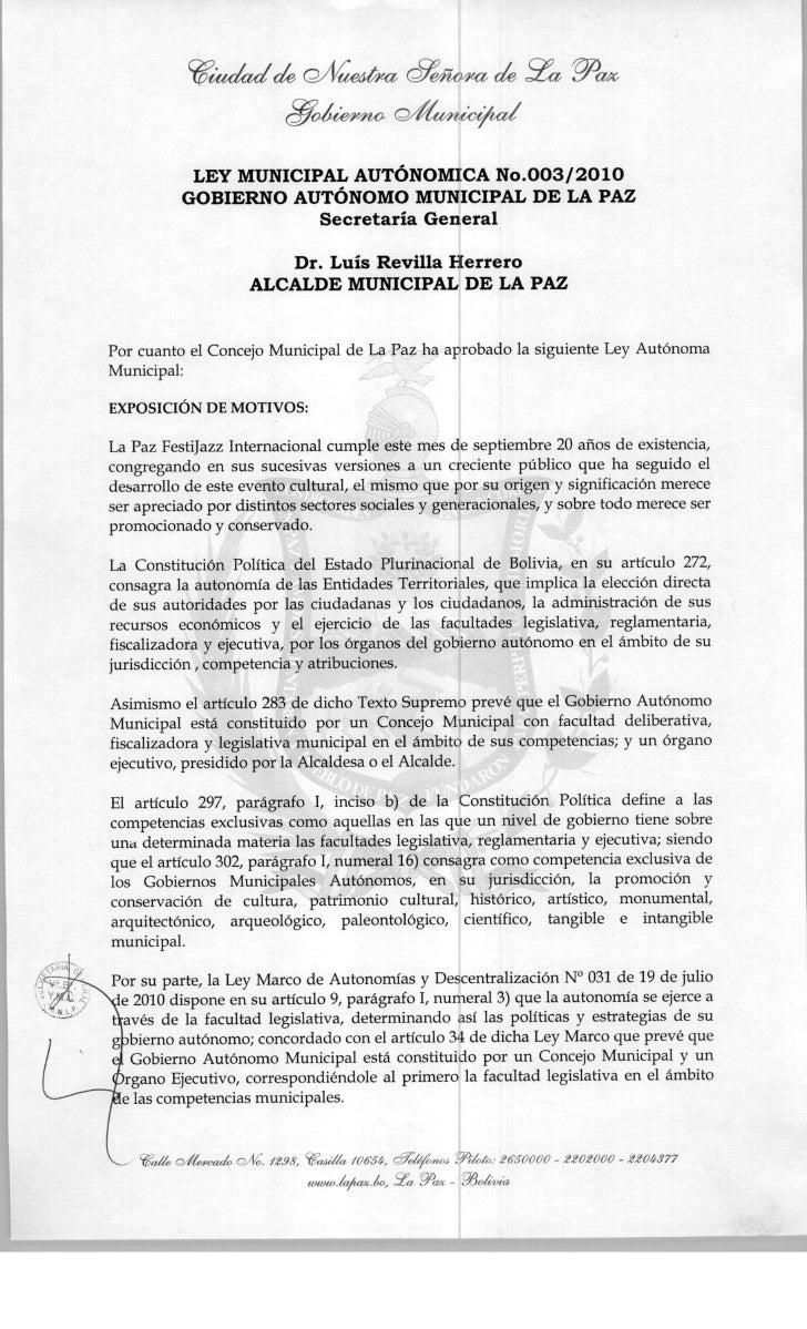 Ley municipal 003 2010 GAM La Paz