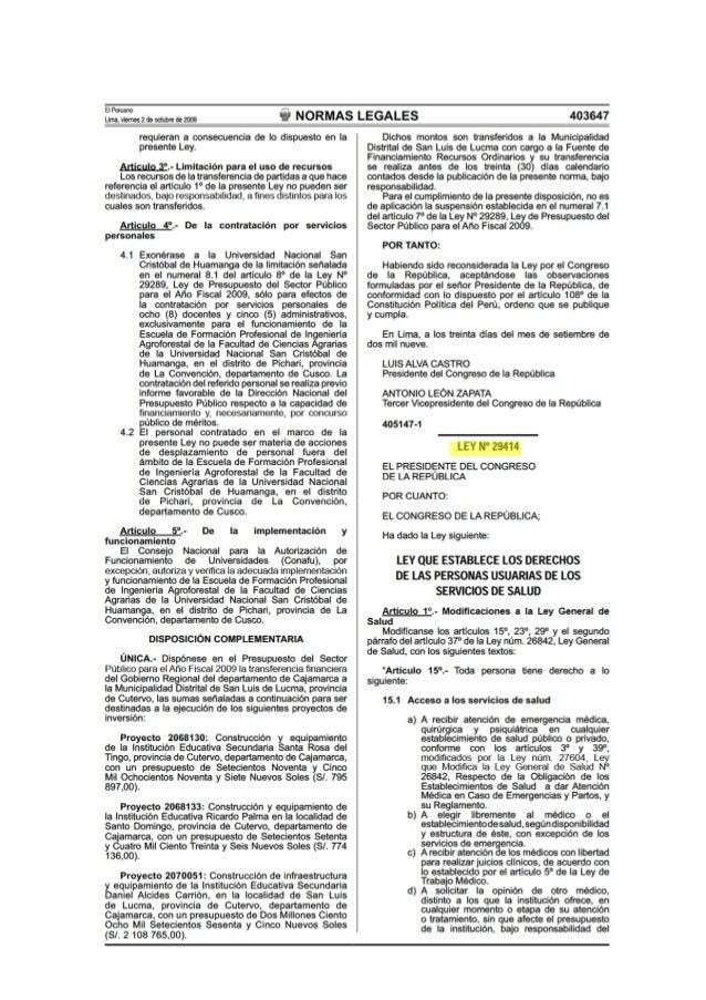 Ley N° 29414 - Ley que establece los Derechos de las Personas Usuarias de los Servicios de Salud