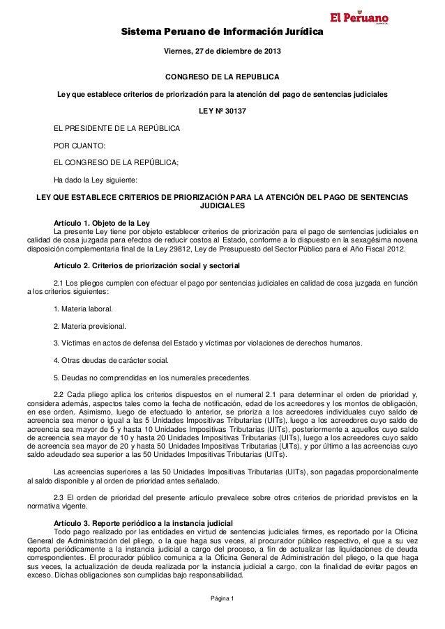 Sistema Peruano de Información Jurídica Viernes, 27 de diciembre de 2013  CONGRESO DE LA REPUBLICA Ley que establece crite...