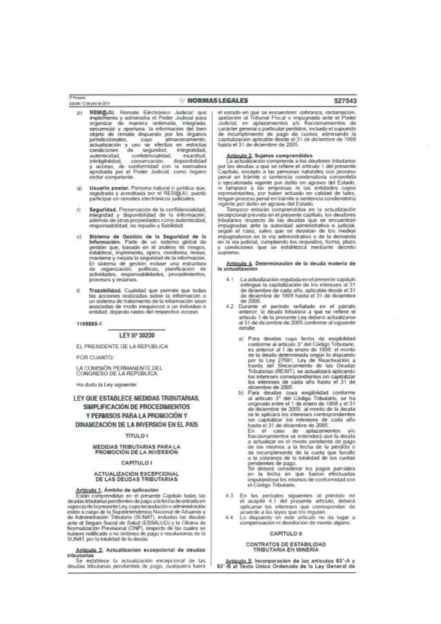 Ley N° 30230 - Ley que establece medidas tributarias simplificación de procedimientos y permisos para la promoción y dinam...