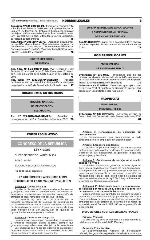 3NORMAS LEGALESMiércoles 27 de diciembre de 2017El Peruano / Res. Adm. Nº 341-2017-CE-PJ.- Expresan reconocimiento a los E...