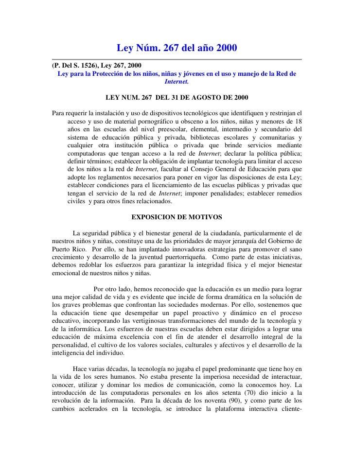 Ley Núm. 267 del año 2000 (P. Del S. 1526), Ley 267, 2000   Ley para la Protección de los niños, niñas y jóvenes en el uso...