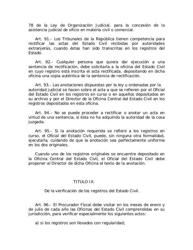 Ley no 659 del 17 de julio de 1944 sobre actos del for Oficina de asistencia en materia de registros
