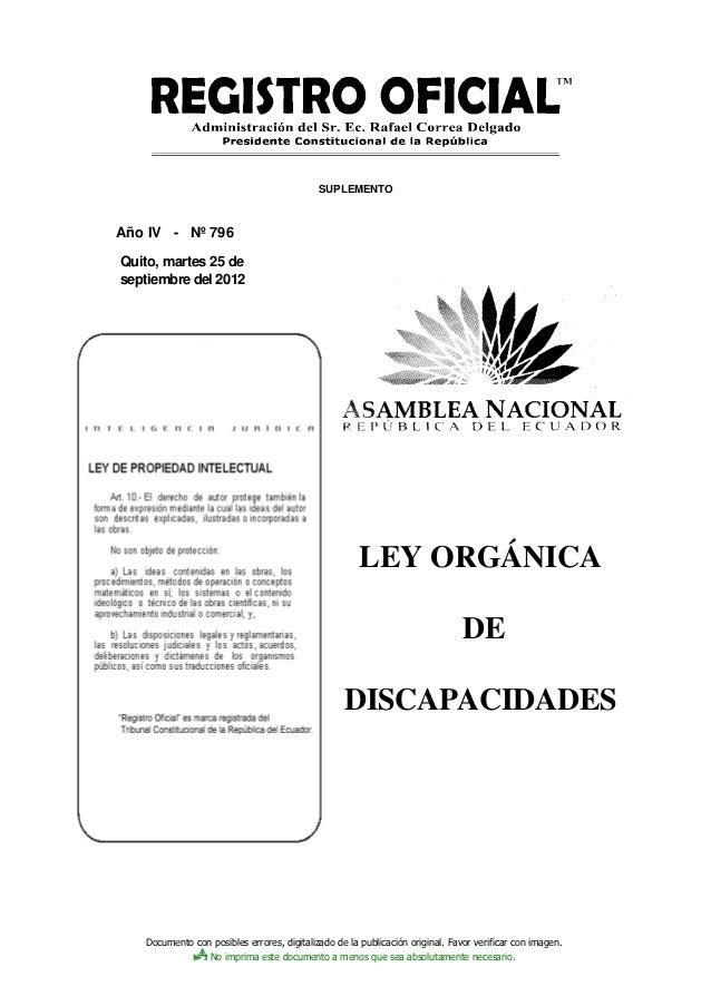SUPLEMENTOAño IV - Nº 796Quito, martes 25 deseptiembre del 2012                                                      LEY O...
