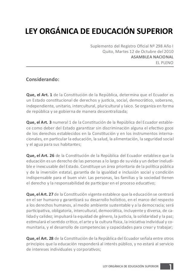 LEY ORGÁNICA DE EDUCACIÓN SUPERIOR                                       Suplemento del Registro Oficial Nº 298 Año I     ...