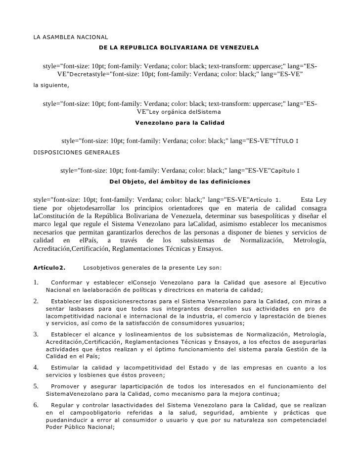 """LA ASAMBLEA NACIONAL                         DE LA REPUBLICA BOLIVARIANA DE VENEZUELA        style=""""font-size: 10pt; font-..."""