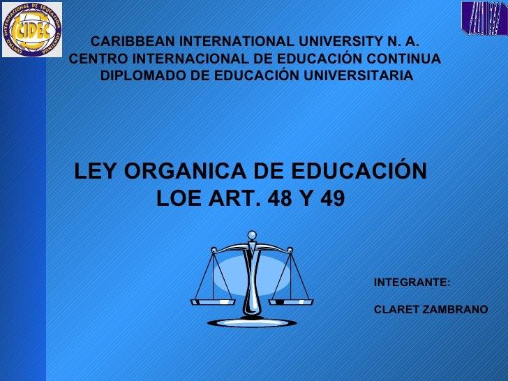 CARIBBEAN INTERNATIONAL UNIVERSITY N. A.  CENTRO INTERNACIONAL DE EDUCACIÓN CONTINUA  DIPLOMADO DE EDUCACIÓN UNIVERSITARIA...