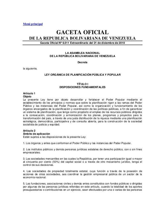 Menú principal  GACETA OFICIAL DE LA REPUBLICA BOLIVARIANA DE VENEZUELA Gaceta Oficial Nº 6.011 Extraordinario del 21 de d...