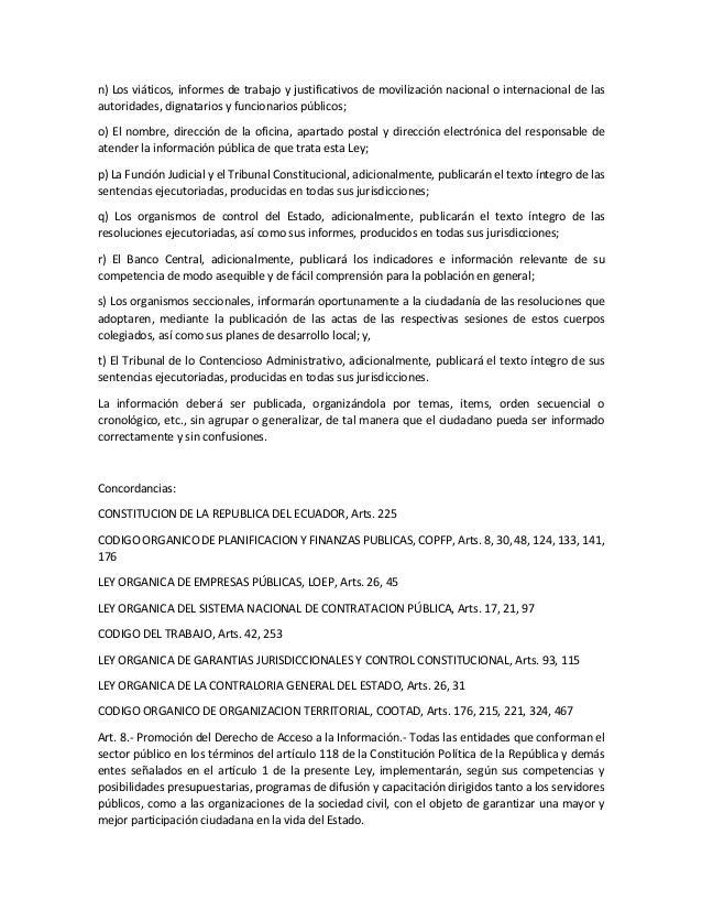 Ley org nica de transparencia y acceso a la informacion for Oficina de transparencia y acceso ala informacion