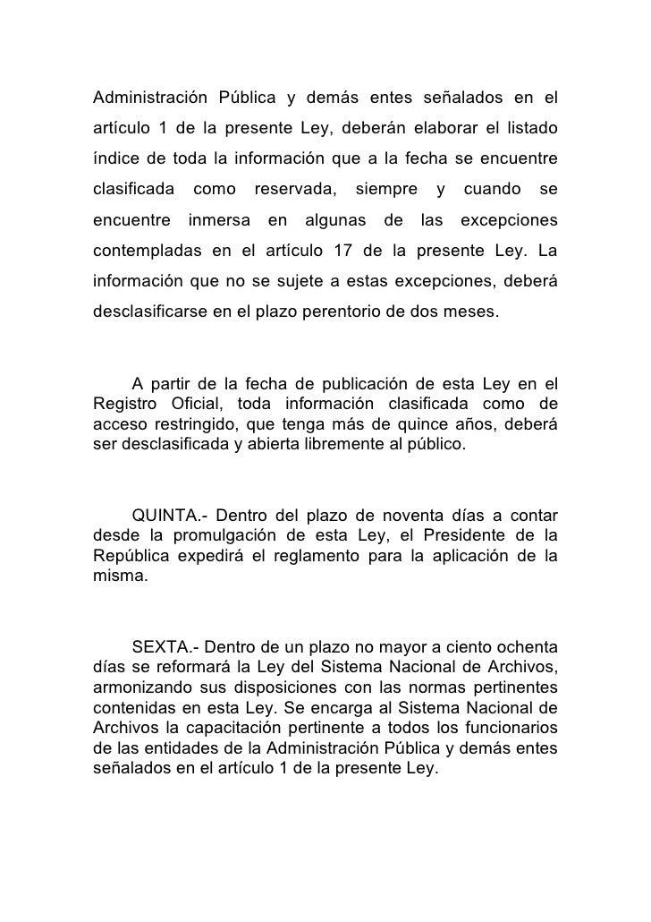 Ley organica de transparencia y acceso a la informacion for Oficina de transparencia y acceso ala informacion